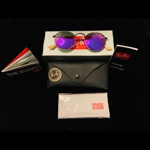 New Ray-Ban Violet Mirrored Round Metal Sunglasses